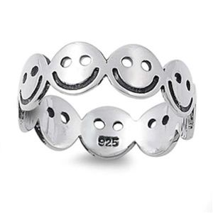 6mm Eternity Smiley Face Sterling Silver size 6